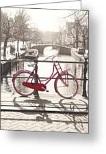The Red Bicycle Of Amsterdam Greeting Card