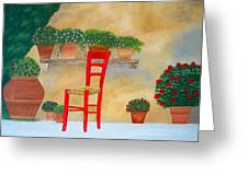 The Red Chair, Tuscany Greeting Card