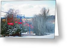 The Red Chairlift Greeting Card