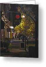 The Red Dot At Night Greeting Card