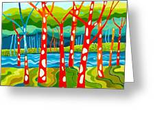 The Red Forest Greeting Card by Carola Ann-Margret Forsberg