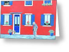 The Red House On The Island Of Burano Greeting Card