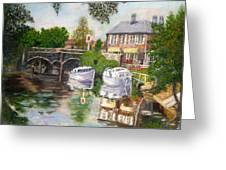 The Red Lion Inn By The Riverbank Greeting Card