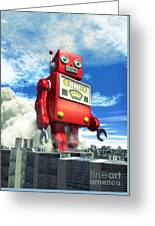 The Red Tin Robot And The City Greeting Card