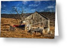 The Red Truck By The Barn Greeting Card
