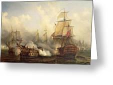 The Redoutable At Trafalgar Greeting Card by Auguste Etienne Francois Mayer