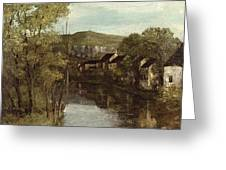 The Reflection Of Ornans Greeting Card by Gustave Courbet
