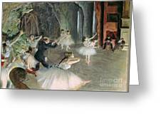 The Rehearsal Of The Ballet On Stage Greeting Card