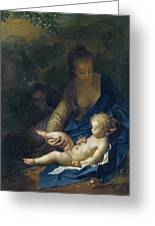 The Rest On The Flight Into Egypt Greeting Card by Adriaan van der Werff