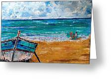 The Resting Boat And The Beach Holidays Greeting Card