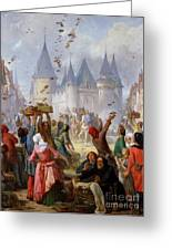 The Return Of Saint Louis Blanche Of Castille To Notre Dame Paris Greeting Card by Pierre Charles Marquis