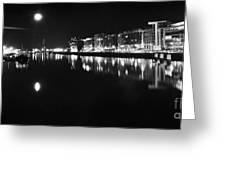 The River Liffey Night Romance Bw Greeting Card