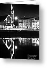 The River Liffey Reflections Bw Greeting Card