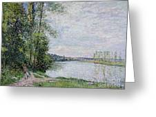 The Riverside Road From Veneux  Greeting Card