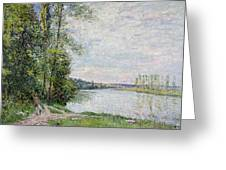 The Riverside Road From Veneux To Thomery Greeting Card