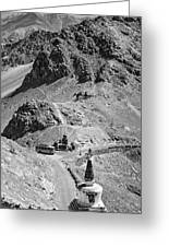 The Road To Ladakh Bw Greeting Card