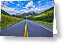 The Road To Maroon Lake Greeting Card by Photography By Sai