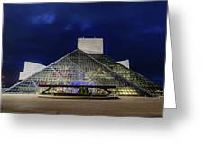 The Rock And Roll Hall Of Fame At Dusk Greeting Card