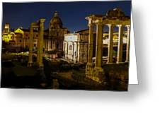 The Roman Forum At Night Greeting Card