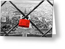The Romantically Love Inscribed Padlocks On The Eiffel Tower, Pa Greeting Card
