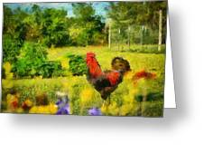 The Rooster's Garden Greeting Card