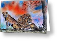 The Royal Lions Of The Mara Greeting Card