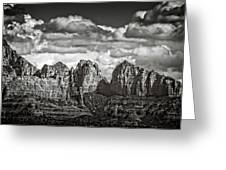 The Rugged Red Rocks In Black And White  Greeting Card