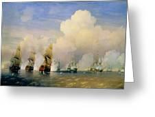 The Russo Swedish Sea War Near Kronstadt In 1790  Greeting Card by Aleksei Petrovich Bogolyubov