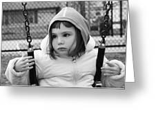 The Sad Girl On A Swing Greeting Card
