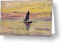 The Sailing Boat Evening Effect Greeting Card by Claude Monet