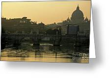 The Sant Angelo Bridge And The Papal Basilica Of Saint Peter At Sunset In Vatican City Greeting Card