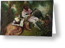 The Scale Of Love Greeting Card by Jean Antoine Watteau