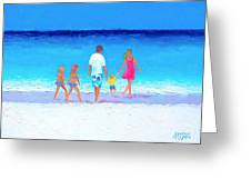 The Seaside Holiday - Beach Painting Greeting Card