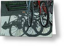 The Secret Meeting - Bicycle Shadows Greeting Card