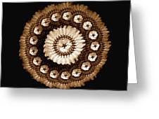 The Sepia Feather And Beadwork Of Flower Greeting Card by Jacqueline Migell