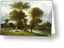 The Shepherd's Break With  His Sheep Greeting Card