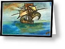The Ship Plying On The River Greeting Card