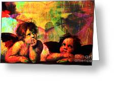 The Sistine Modonna Baby Angels In Abstract Space 20150622 Greeting Card