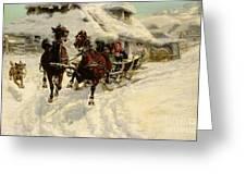 The Sleigh Ride Greeting Card by JFJ Vesin