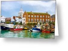 The Small Fishing Port Greeting Card by Trevor Wintle