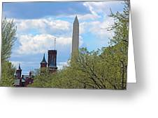 The Smithsonian Castle And Washington Monument In Green Greeting Card