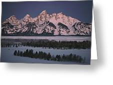 The Snowcapped Grand Tetons Greeting Card by Dick Durrance Ii