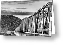 The South Llano River Bridge Black And White Greeting Card