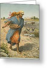 The Sower Sowing The Seed Greeting Card by English School