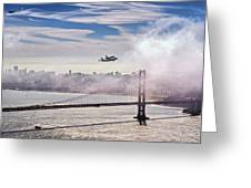 The Space Shuttle Endeavour Over Golden Gate Bridge 2012 Greeting Card