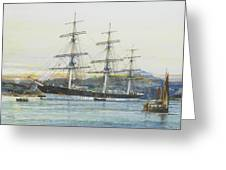 The Square-rigged Australian Clipper Old Kensington Lying On Her Mooring Greeting Card