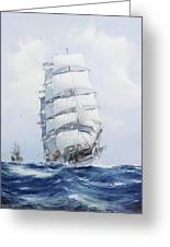 The Square-rigged Wool Clipper Argonaut Under Full Sail Greeting Card