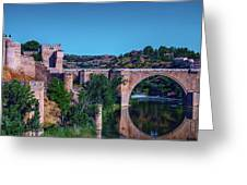 The St. Martin Bridge Over The Tagus River In Toledo Greeting Card
