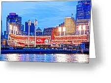Ohio Pill Box Mustache Overlooks Stadium Greeting Card