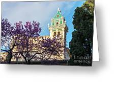 The Steeple Of The Valldemossa Charterhouse In Spring Greeting Card